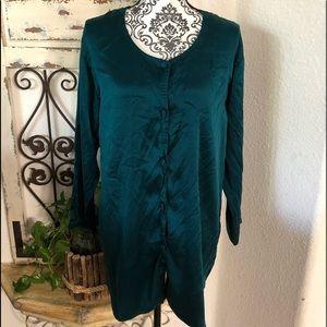 Victoria's Secret emerald green silk night shirt
